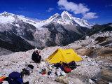 High Altitude Camp Site Opposite Nevado Huandoy  Cordillera Blanca  Ancash  Peru