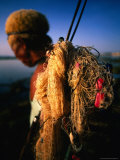 Balinese Fisherman with Nets and Equipment  Bali  Indonesia