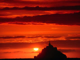 Mont Saint Michel at Sunset  Mont St Michel  France