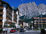 Apartment Buildings with Cliffs of Cristallo Group Behind  Cortina  Veneto  Italy