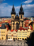 Tyn Church and Old Town Square Seen from Old Town Hall  Prague  Czech Republic