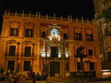 Palacio Episcopal at Night  Malaga  Spain
