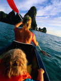 Mother and Daughter Sea Kayaking  Krabi  Thailand