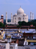 Taj Mahal and City Rooftops  Agra  Uttar Pradesh  India