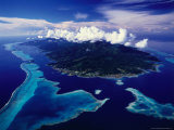 Aerial View of Island and Surrounding Reefs  French Polynesia