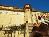 Man on Elephant Below Fort  Amber  Rajasthan  India