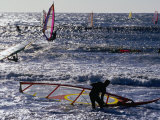 Windsurfers on Prado Beach  Marseille  France