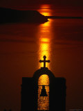 Church Belltower Silhouetted at Sunset  Greece
