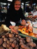 Vendor at Lehel Ter Market Stall  Budapest  Hungary