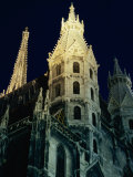 Towers of Stephansdom Cathedral at Night  Innere Stadt  Vienna  Austria