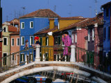 People Crossing Bridge Over a Canal  Burano  Veneto  Italy