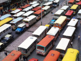 Overhead View of Peak Hour Traffic  Bogota  Colombia