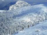 Snowboarders on Low Tatra Mountains  Jasna  Slovakia