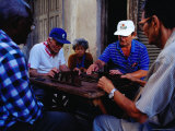 Men Playing Dominos Outside  Havana  Cuba