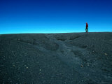 Man Walking on Rim of Irazu Volcano Crater  Against Blue Sky  Cartago  Costa Rica