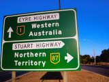 Road Sign for Eyre and Stuart Hghways  Australia