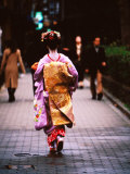 Geisha in Kimono Walking Away  Pontocho Districts  Kyoto  Japan