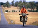 Cyclist on Road from Ormaston to Deloraine  Deloraine  Australia