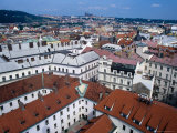 Rooftops of Nove Mesto Towards Prague Castle  Prague  Czech Republic