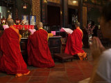 Monks and Worshippers in Cheng Hong Teng Buddhist Temple  Chinatown  Melaka  Malaysia