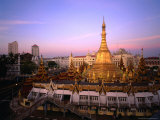 The 46 Metre High Sule Paya  a Yangon Landmark Circled by Busy Streets  Yangon  Myanmar (Burma)