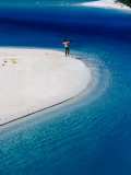 Man Fishing in Lagoon  New Caledonia