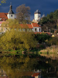 Village Buildings Reflected in Water  Karlstejn  Czech Republic