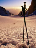Ski Poles at Sunset on Tirich Glacier  Tirich Mir  Pakistan