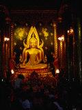 Worshippers in Front of Chinnarat Buddha in Wat Phra Si Ratana Mahathat  Phitsanulok  Thailand
