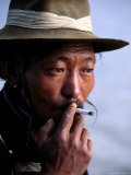 Portrait of Man Smoking  China