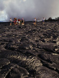 Group of Tourists Crossing Lava Fields  Hawaii Volcanoes National Park  Hawaii (Big Island)  USA