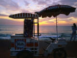 Ice Cream Vendor at the Beach on Galle Road at Sunset  Colombo  Western  Sri Lanka