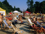 People on Beach in Parco Sempione  Milan  Italy