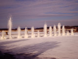 Explosions in the Frozen River Nemunas  Causing Fountains of Ice  Prienu  Lithuania