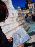 Tourist Looking at Map in Piazza Del Popolo  Rome  Italy