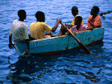 Boys Rowing Boat  Soufriere  Dominica