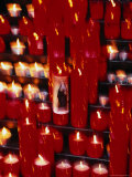 Prayer Candles Burning at Cathedral  Barcelona  Spain