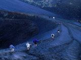 Descending Volcanic Ash Scree Slopes of Gunung Batur  Indonesia