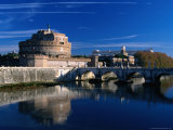 Castel Sant'Angelo and Ponte Sant'Angelo on River Tevere  Rome  Italy