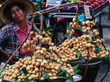 Woman with Food for Sale at Market Bangkok  Thailand
