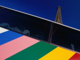 The Eiffel Tower Behind a Colourfully Striped Tourist Bus  Paris  Ile-De-France  France
