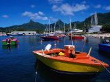 Harbour Boats with Peaks of Mt Ikurangi and Te Manga Beyond  Rarotonga  Cook Islands