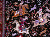 Hunting Scene on Carpet from Ghom  Iran