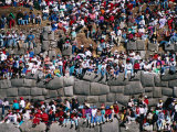 Spectators Sitting on Inca Walls Watching Inti Raymi Festival  Sacsayhuaman  Cuzco  Peru