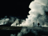 Steam from Geysers at Dawn  El Tatio Geysers  Chile