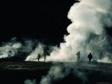 Steam from Geysers at Dawn  El Tatio Geysers  Chile