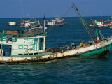 Traditional Fishing Boats in Ocean Hua Hin  Prachuap Khiri Khan  Thailand