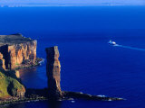 Passenger Ferry Passing Seastack Formation Known as Old Man of Hoy  Wester Ross  Scotland