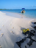Empty Beach with Snorkelling Gear and Sandy Footprints Near Georgetown  George Town  Bahamas