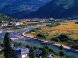 Aerial View of River Running Through Paro Valley and Airport  Paro Town  Bhutan